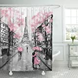 Hot Pink and Brown Shower Curtain TOMPOP Shower Curtain Oil Painting Paris European City Landscape France Eiffel Tower Black White and Pink Modern Couple Under Waterproof Polyester Fabric 60 x 72 inches Set with Hooks