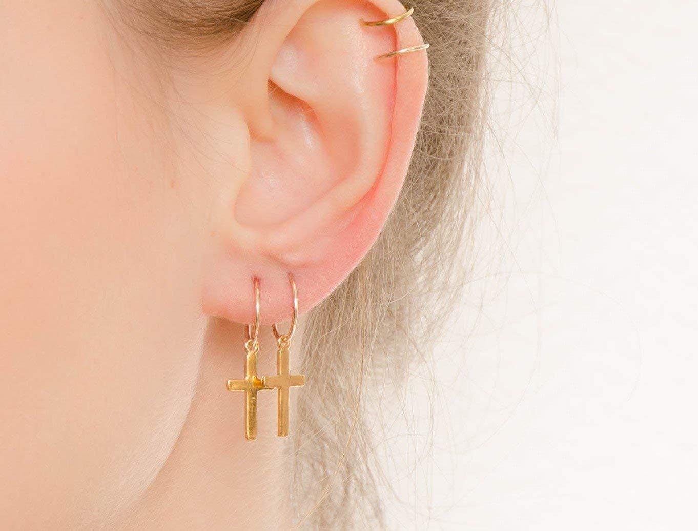 Gold hoop earrings Simple hoop earrings Gold filled jewelry Minimalist hoop earrings