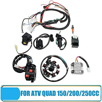 amazon.com: electric wiring harness kit, bessiesparks ignition coil cdi  regulator set for atv quad 150/200/250cc: automotive  amazon.com