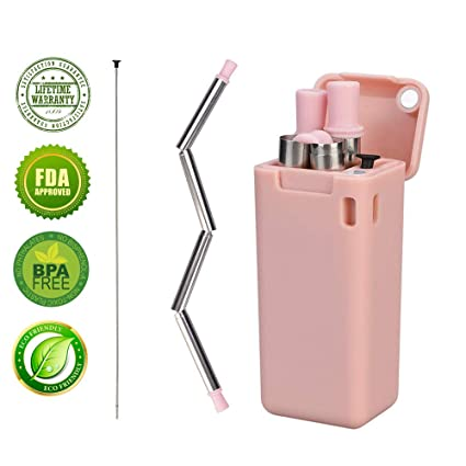 Stainless Steel Straw Reusable Drinking Straw Reusable Dringking Straws  Collapsible Stainless Steel Drinking Straws Folding Stainless Steel Straw  with