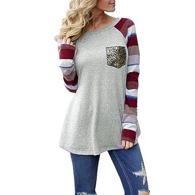 Yannerr Mujer Primavera Lentejuelas Bolsillos Rayas Empalme Casual Manga Larga básica Inferior Camiseta Tops suéter Chaqueta