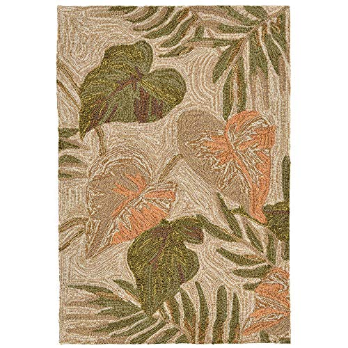 Liora Manne Ravella Tropical Leaf Indoor/Outdoor Rug Neutral 24