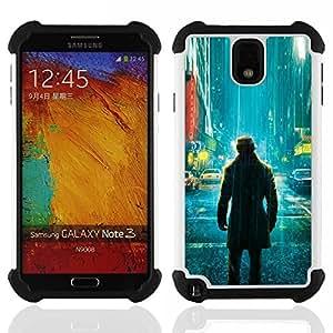 """SAMSUNG Galaxy Note 3 III / N9000 / N9005 - 3 en 1 impreso colorido de Altas Prestaciones PC Funda chaqueta Negro cubierta gel silicona suave (Comic vigilante solitario"""")"""
