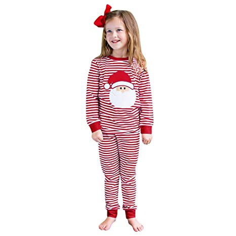 Toddler Baby Girls Christmas Santa Striped Tops+Pants Pajamas Sleepwear Outfits