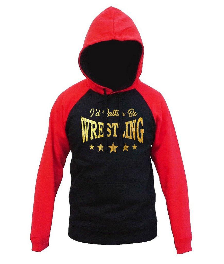 Interstate Apparel Gold Foil I'd Rather Be Wrestling Men's Black/Red Raglan Baseball Hoodie Sweater Medium Black