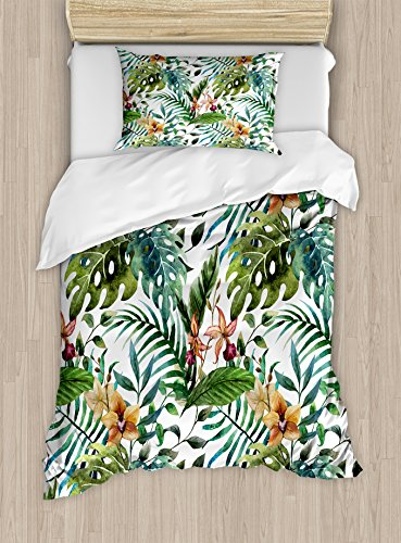 Cover Set Twin Size, Vintage Retro 60s Seem Banana Palm Tree Leaves Flowers Hibiscus, Decorative 2 Piece Bedding Set with 1 Pillow Sham, Pale Caramel Burgundy and Green ()