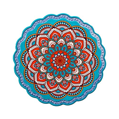 Arly Wipeable Hardboard Blue Trivet Mat for Pot, Decor Cork Backed Insulation Pads with Mandala Style,Round 7.7 Inch