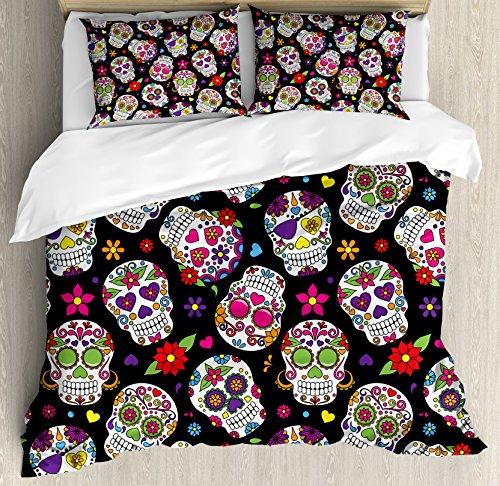 Sugar Skull Decor Queen Size Duvet Cover Set by Ambesonne, Festive Graveyard Mexico Ritual Figures Mask Design on Black Backdrop, Decorative 3 Piece Bedding Set with 2 Pillow Shams, (Sugar Skull Bedroom Decor)