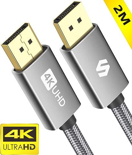 Nylon Geflecht DP zu DP Kabel Ultra High Speed Display Port Kabel unterst/ützt Laptop PC,TV etc 4K@60Hz,2K@120Hz DisplayPort auf DisplayPort Kabel Grau 4K DisplayPort Kabel 4.5M