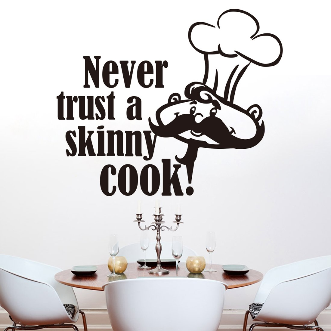 Tmall Never Trust a Skinny Cook Funny Kitchen Dining Room Wall Sticker Wall Decal Wall Art Vinyl Wall Mural