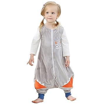 ZEEUAPI - Saco de dormir de franela para bebés niños infantíl Ropa para dormir (S (1-3 años), Gris - monstruo pequeño): Amazon.es: Hogar