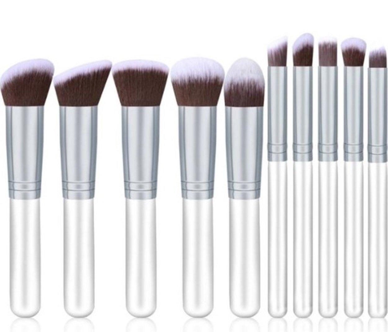 10 Pcs Makeup Brush Set Eyeshadow Cosmetic Make Up Tools Foundation Natural Beauty Palettes Vanity Agile Popular Eyes Face Colorful Rainbow Hair Highlights Glitter Kids Travel Kit, Type-06