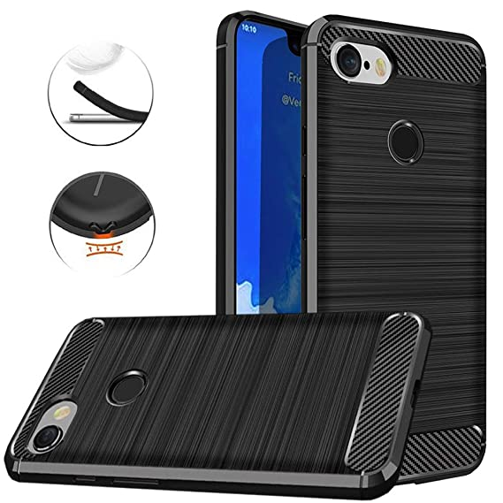wholesale dealer 1a659 40fba Google Pixel 3 XL Case, Dretal Carbon Fiber Shock Resistant Brushed Texture  Soft TPU Phone case Anti-Fingerprint Flexible Full-Body Protective Cover ...