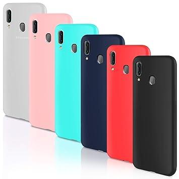 Leathlux 6 x Funda Samsung Galaxy A20, 6 Unidades Carcasas Juntas Ultra Fina Silicona TPU Flexible Colores Carcasas Samsung Galaxy A20 - Translúcido ...