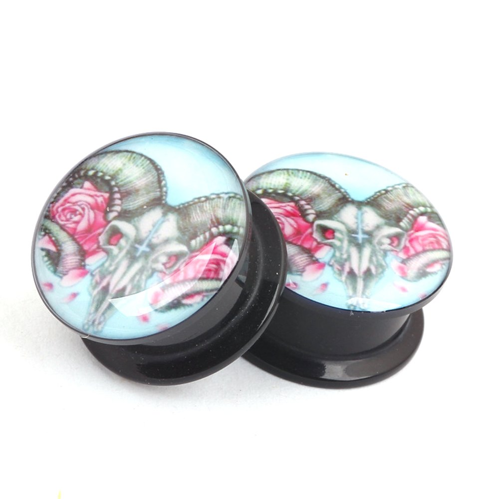RichBest 2pcs Ear Flesh Plugs Tunnels Gauge Acrylic Cross Skull Animal Horns Expanders Stretched Earring EK81
