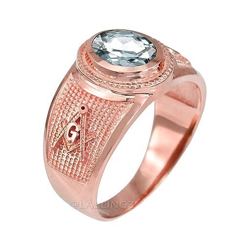 Amazon.com: Anillo de oro rosa de 14 quilates, piedra ...