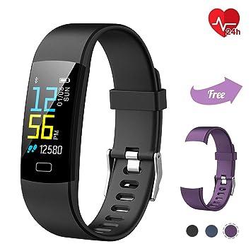 TwobeFit Pulsera Actividad, Pulsera Inteligente Pantalla Color HR con Pulsómetro Pulsera Deportiva y Monitor de Ritmo Cardíaco Monitor de Actividad ...
