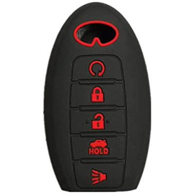 RUNZUIE Silicone Keyless Entry Remote Key Fob Cover Case Protector Fit for Infiniti JX35 QX60 QX80 Q50 Black with Red 5 Buttons: Automotive
