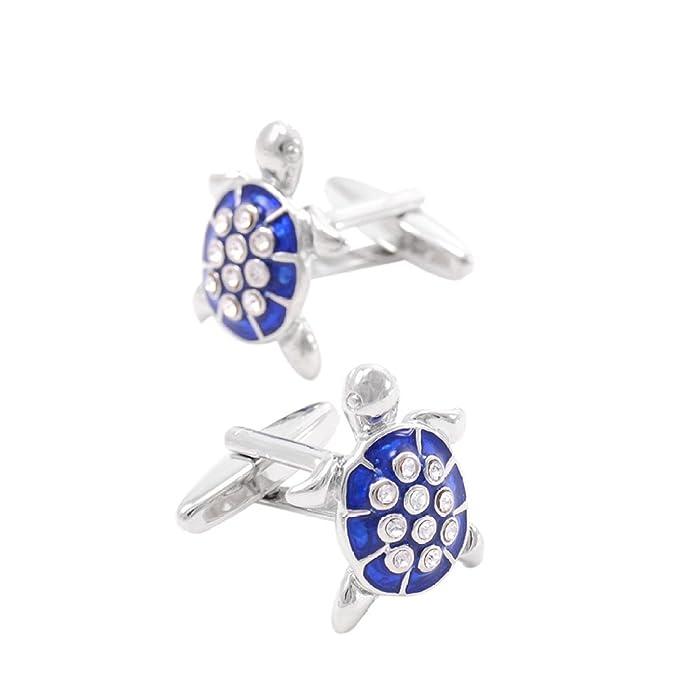 Mancuernas Del Diamante De La Personalidad Azul Tortuga Forma De Cristal Con Incrustaciones SAPEOO Los Hombres De,Blue-17*21mm: Amazon.es: Ropa y accesorios