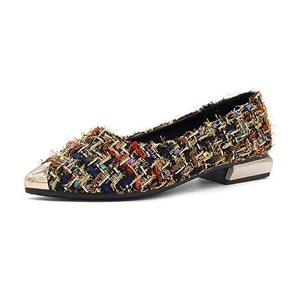 Zapatillas de Mujer con Punta, Zapatos de Moda con Lazo Plano, Diamantes de imitación