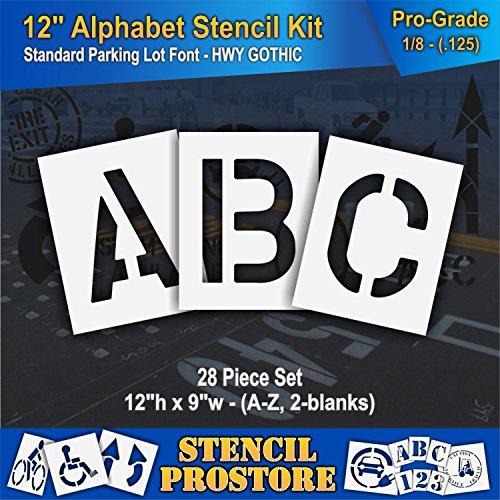 Pavement Stencils - 12 inch Alphabet KIT Stencil Set - (28 Piece) - 12