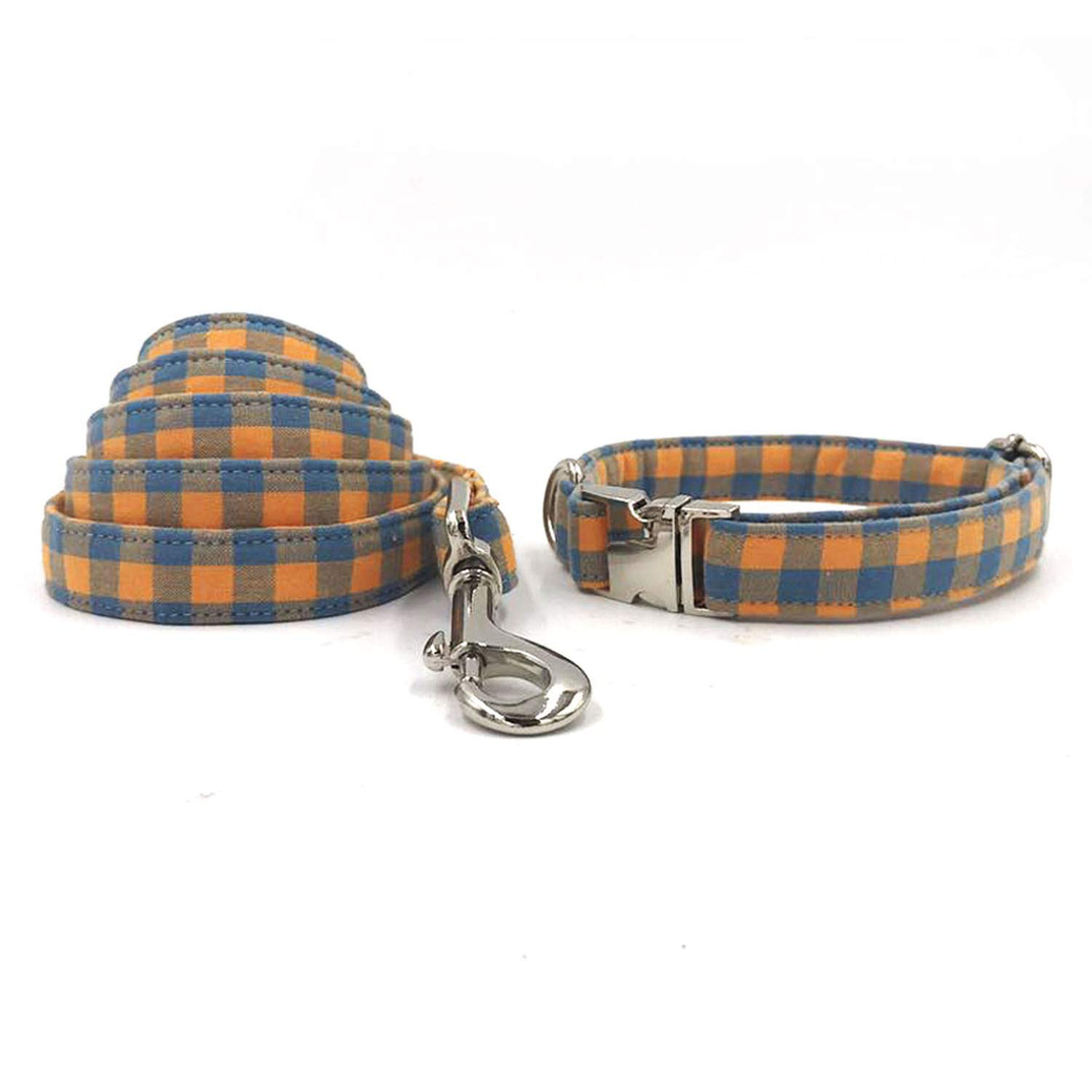 Collar and leash L collar and leash L Nerefy The orange Plaid Dog Collar and Leash with Bow Tie Dog Training Collar and Leash,Collar and Leash,L
