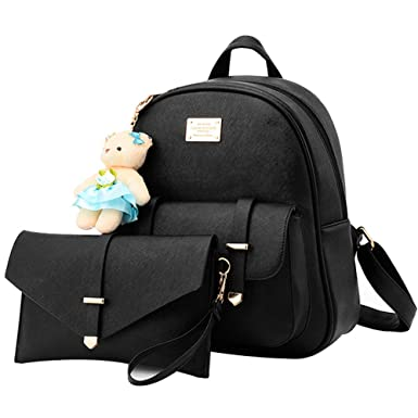 35f1ed8625 Amazon.com  BAG WIZARD Fashion Shoulder Bag Rucksack Faux Leather Women  Girls Ladies Backpack Purse Set Travel Bag  Clothing