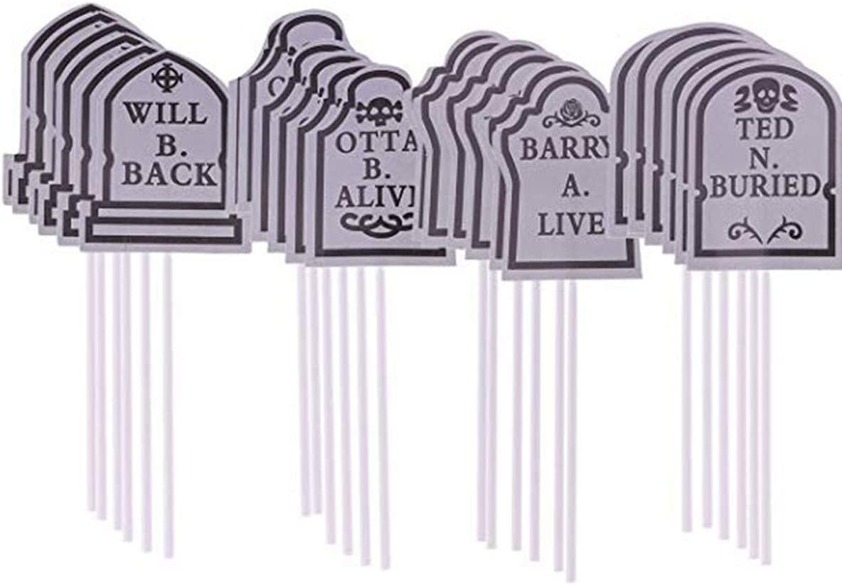 Halloween Cake Decorations Cupcake Toppers Tombstones Graveyard Cupcake Toppers for Halloween Party Supplies 24 Pieces