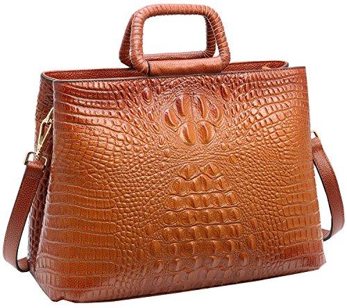Tote Heshe Womens Crocodile Leather Shoulder Handbags Bags Satchel Purse (Sorrel) ()