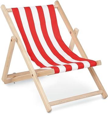 ab 2 Jahren 2-fach verstellbar Pinolino Liegestuhl Linus natur und Streifen rot//wei/ß aus Holz und 100 /% Polyester klappbar