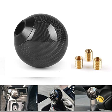 Black Gear Shift Knob with Adapters fits for Manual and Most Automatic 5-Speed 6-Speed Cars