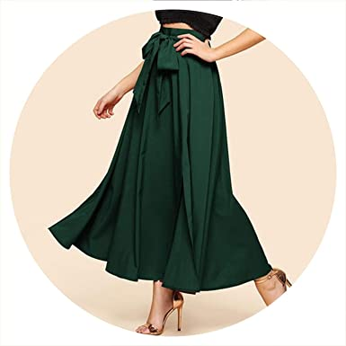 0fee9c698968 Image Unavailable. Image not available for. Color: Elegant Bow Knot Front  Flare Maxi Skirt 2019 Spring Women High Waist Plain Vintage ...