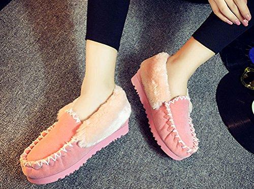 Anbover Dames Meisjes Winter Warme Laarzen Casual Platte Loafers Mode Doug Schoenen Roze