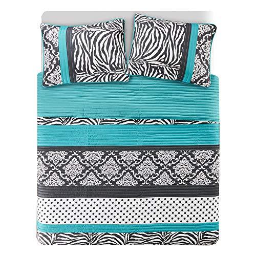 Sally Quilt Set Twin XL/Twin Bedding Set - Teen Girl 2 Pieces - Aqua Blue/Black - Zebra, Damask, Polka Dot print out - Hypoallergenic soft Microfiber All Season Twin Coverlet