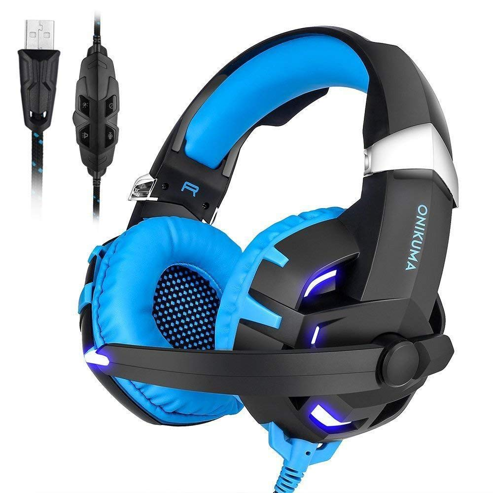 HUAN PC Gaming Headset for PS4 Xbox One, 3.5mm Stereo USB LED Headphones with Omnidirectional Microphone, Volume Control for Computer Laptop (Color : 1)