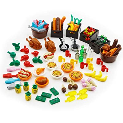 Foods Building Bricks City Blocks Parts Accessories Pack 136 Pieces Toys Set Pizza Restaurant Dinner Party Compatible with All Major Brand: Toys & Games