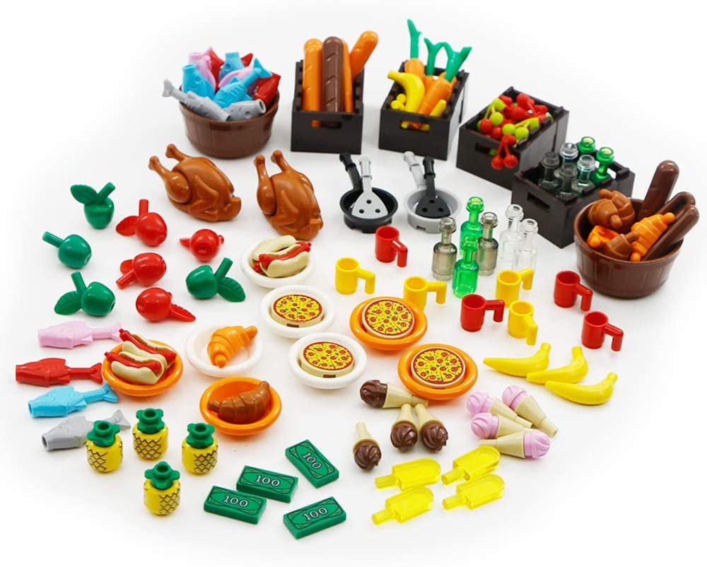 Foods Building Bricks City Blocks Parts Accessories Pack 136 Pieces Toys Set Pizza Restaurant Dinner Party Compatible with All Major Brand