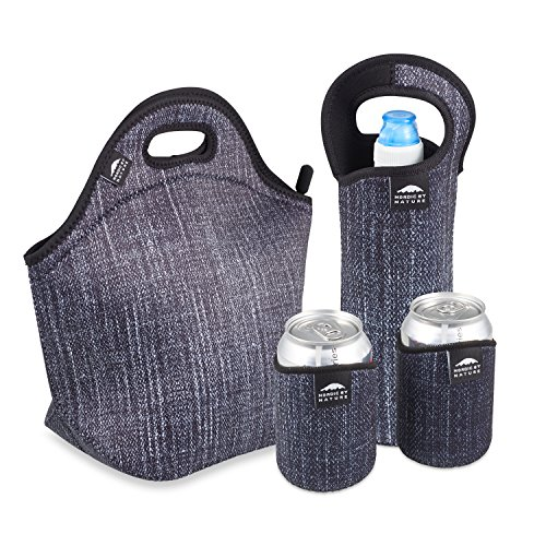 Large Black Neoprene Tote Bag Designed for Women, Men & Kids   Works Great as Lunch Cooler and Will Keep Your Lunch Cold For Hours   Very Flexible Neoprene Material and Works With Most Lunch Boxes