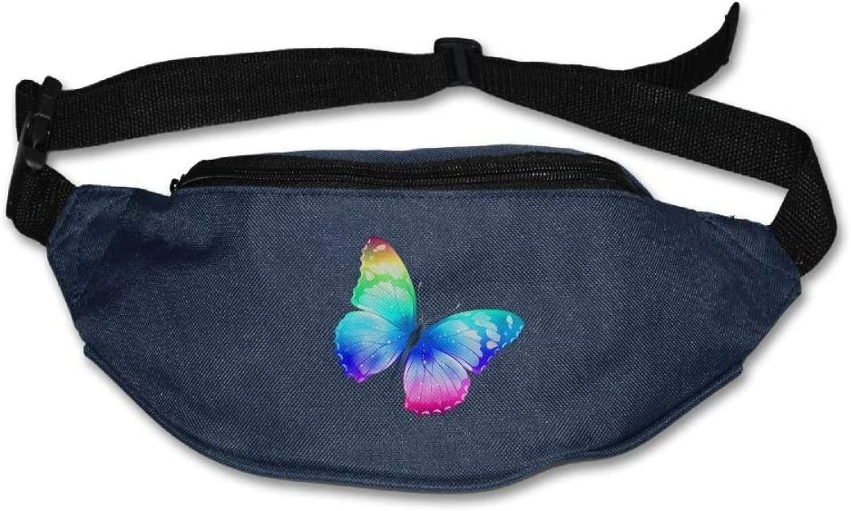 Bright Blue Butterfly Sport Waist Pack Fanny Pack Adjustable For Run