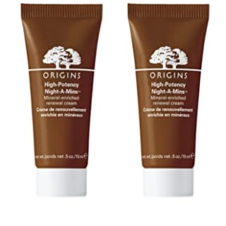 Origins High Potency Night A Mins Resurfacing Cream 0.5 Ounce Tube Deluxe Travel Size 2 Pack