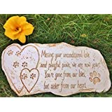 Pet Memorial Stone Marker for Dog or Cat - For Outdoor Garden, Backyard, or Lawn. Pet Grave Headstone Tombstone - Loss of Pet Gift - Made of Weatherproof Resin