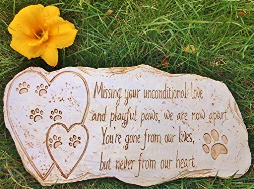 Pet Memorial Stone Marker for Dog or Cat - For Outdoor Ga...
