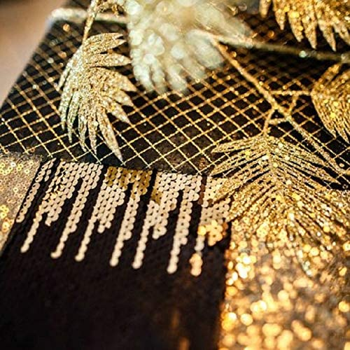 Miss Lovely Edles Tisch-Band Tisch-L/äufer Pailletten in schwarz Gold /& Silber Glitzer Weihnachts-Deko Tisch-Dekoration Hochzeits-Deko Geburtstag Silvester Wohnung Innen-Deko