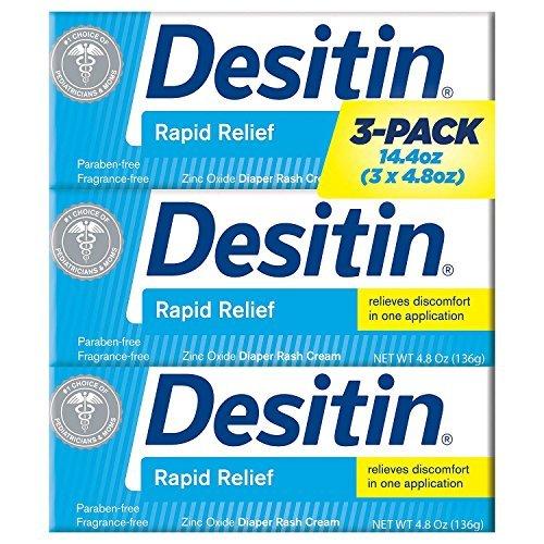 - Desitin Rapid Relief Diaper Rash Cream, 4.8 Ounce, (Pack of 3)