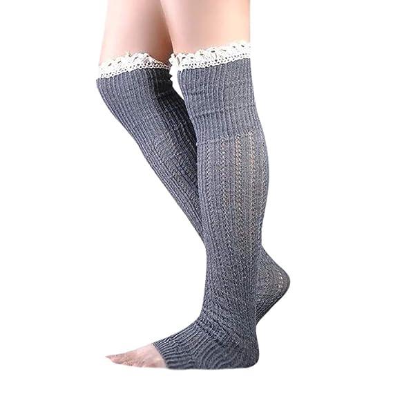 DEELIN Calcetines Mujer Lady Cable Knit Over Knee Bota Larga Hasta El Muslo Calcetines De Encaje Leggings Calcetines De Color SóLido Para Niñas: Amazon.es: ...
