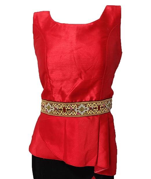 Nanon Red Lao Laos Silk Blend Sleeveless Classic Neckline Blouse Tos
