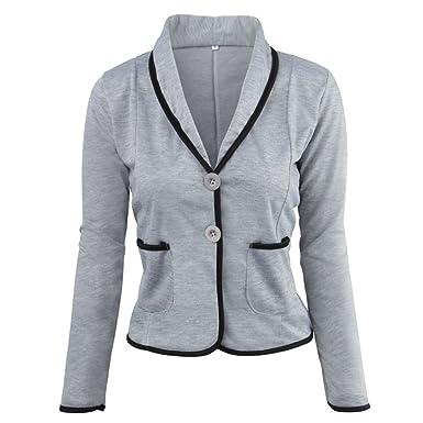 Minetom Femme Élégant Blazer à Manches Longues Slim Fit OL Bureau  Entreprise Veste De Costume Chic b08e494bd923