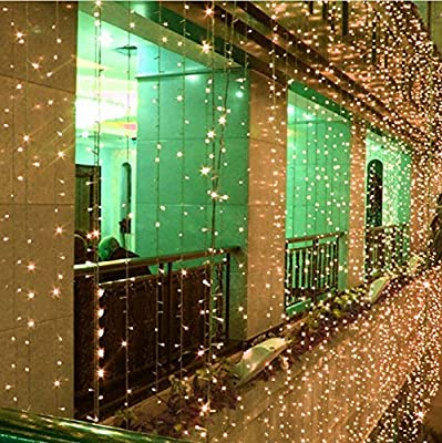 AMARS 3M*3M 300 LED Wedding Window Curtain Lights Indoor/Outdoor Christmas LED String Fairy Lights 110V 8 Modes Background/Wall Lights for XMAS Party Home Bedroom Decoration Lighting