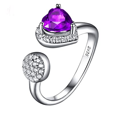 Gifts For Women Sterling Silver Purple Natural Amethyst Love Heart Gemstone Open Ring Anniversary