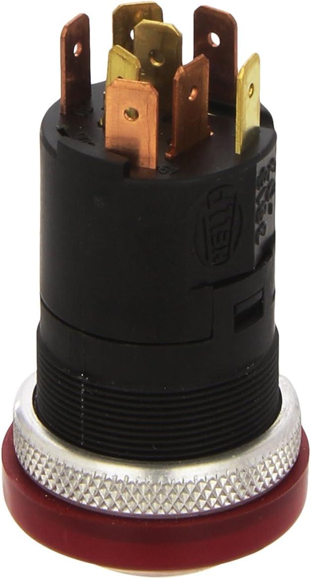 avvitato Illuminazione interruttore: arancione Alesaggio-/Ø: 12mm N/° raccordi: 3 Contatto di commutazione HELLA 6EH 007 946-031 Interruttore//Comando//Innesto Comando ribaltamento